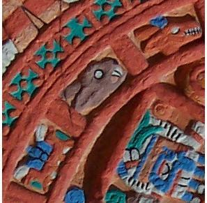 Détail d'un tonalpohualli, calendrier divinatoire sacré de 260 jours, regroupés en 20 groupes (treizaines) de 13 jours auxquels correspondait un symbole. Ici un lapin : tochtli.