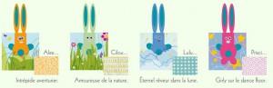Les 4 lapins et univers différents : Alex l'intrépide aventurier, Lulu, l'éternel rêveur dans la lune, Cilou l'Amoureuse de la nature et Prisci, girly sur le dance floor