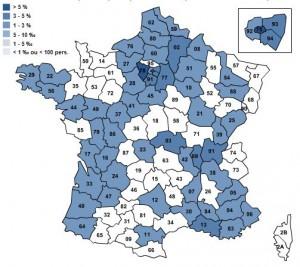 Cette carte affiche la répartition par département du Lapin en France - www.nom-famille.com