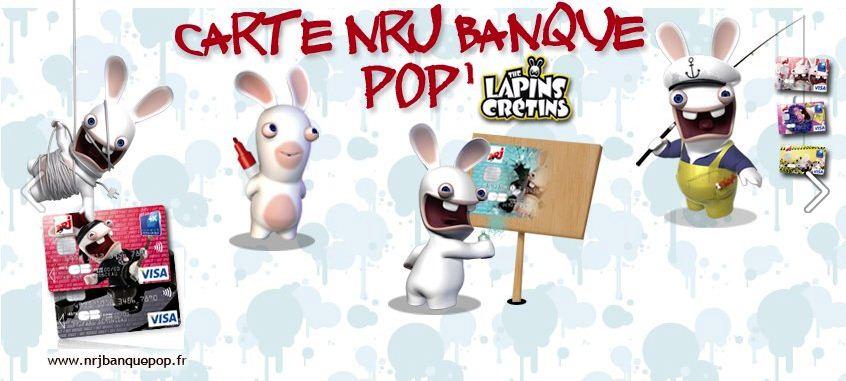 Communication Facebook de la carte bleue Visa customisée avec les Lapins Crétin - NRJ Banque Pop'