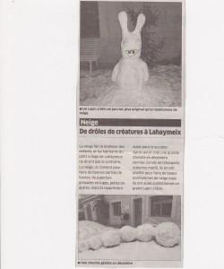 Drôles de créature à Lahaymeix - L'Est Républicain- Janvier 2013